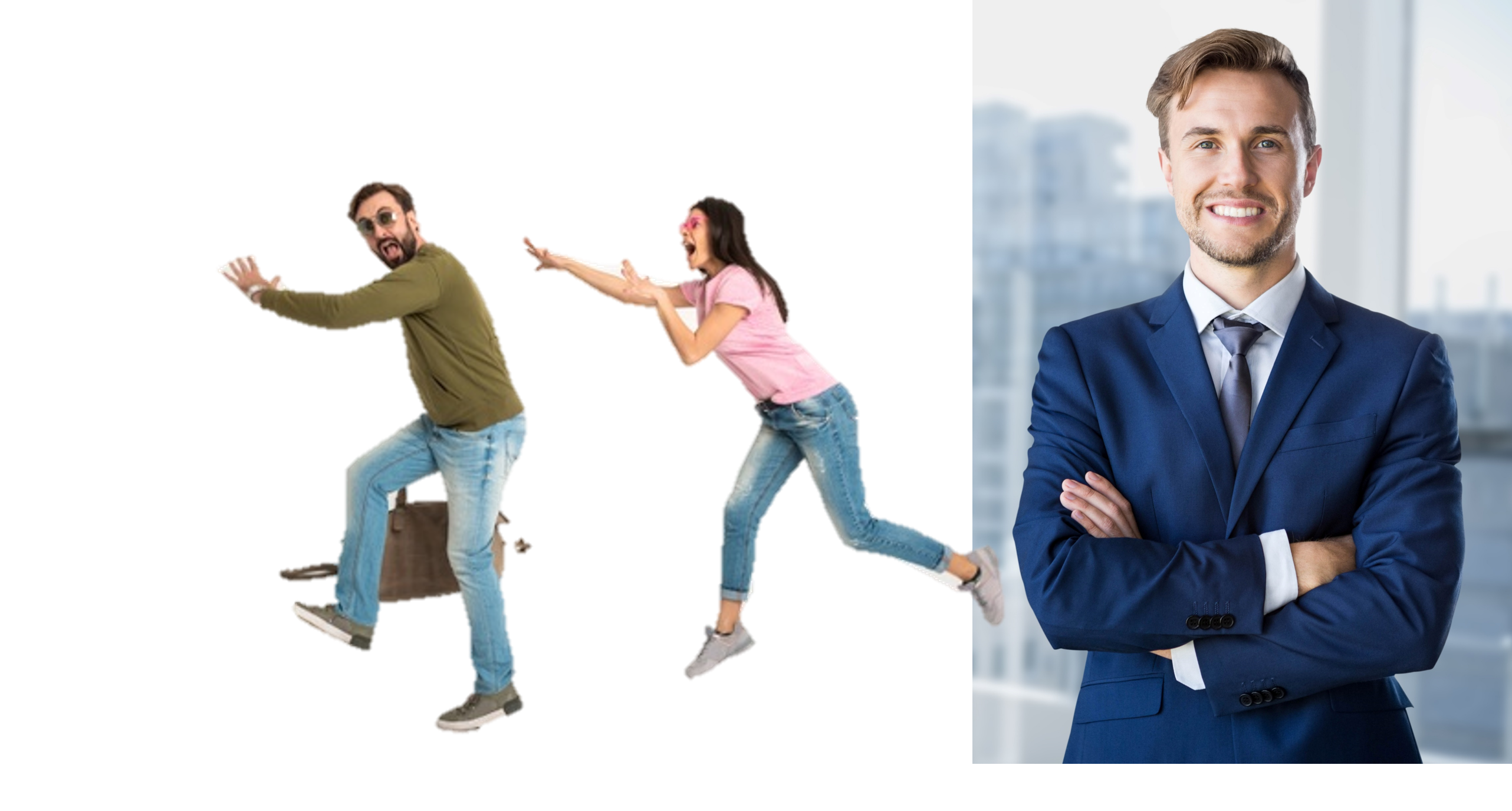 people running from money guy